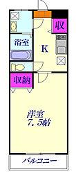 JR高崎線 北本駅 徒歩15分の賃貸アパート 1階1Kの間取り
