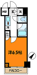 東急田園都市線 溝の口駅 徒歩7分の賃貸マンション 2階1Kの間取り