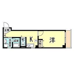 神戸市海岸線 ハーバーランド駅 徒歩10分の賃貸マンション 1階1Kの間取り