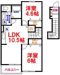 JR五日市線 武蔵五日市駅 徒歩5分の賃貸アパート 2階2LDKの間取り