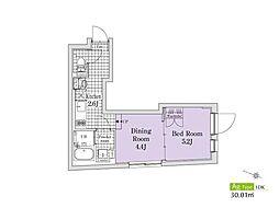 東急目黒線 西小山駅 徒歩7分の賃貸マンション 1階1DKの間取り
