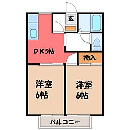 栃木県塩谷郡高根沢町大字石末の賃貸アパートの間取り