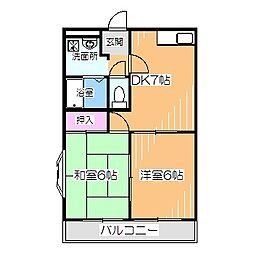 Osaka Metro御堂筋線 なかもず駅 徒歩10分の賃貸マンション 2階2DKの間取り