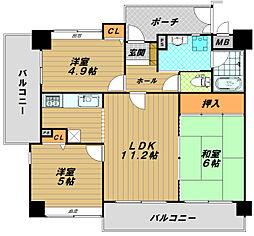 ワコーレプラージュ須磨[4階]の間取り