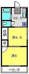 尾原荘[201号室]の間取り