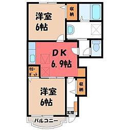 栃木県塩谷郡高根沢町大字平田の賃貸アパートの間取り