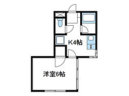 神奈川県厚木市下依知2丁目の賃貸アパートの間取り
