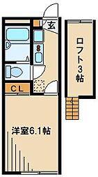 JR川越線 西川越駅 徒歩8分の賃貸アパート 2階1Kの間取り