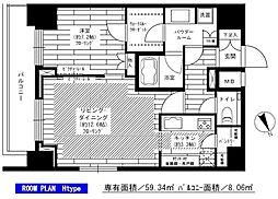 東京メトロ南北線 六本木一丁目駅 徒歩3分の賃貸マンション 19階1LDKの間取り