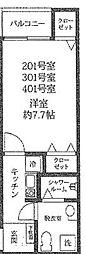 フォセット新大橋 1階1Kの間取り