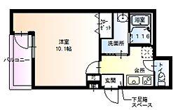 南海高野線 百舌鳥八幡駅 徒歩9分の賃貸アパート 1階1Kの間取り