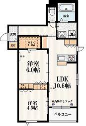 東京メトロ南北線 本駒込駅 徒歩9分の賃貸マンション 3階2LDKの間取り