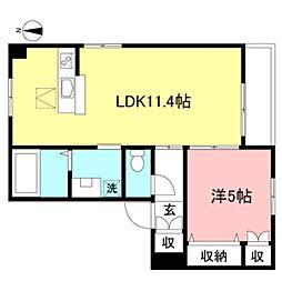 JR中央線 吉祥寺駅 バス14分 新川下車 徒歩2分の賃貸マンション 2階1LDKの間取り