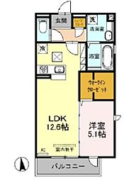 (仮)D-room戸田 A棟 1階1LDKの間取り
