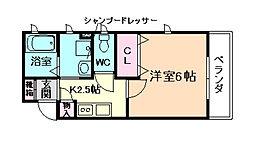 大阪府大阪市福島区鷺洲1丁目の賃貸アパートの間取り
