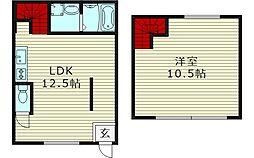 アリタマンション 1階1LDKの間取り