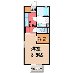 栃木県小山市犬塚1の賃貸アパートの間取り
