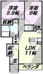 埼玉県入間市大字新光の賃貸アパートの間取り