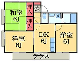 千葉県市原市国分寺台中央1丁目の賃貸アパートの間取り