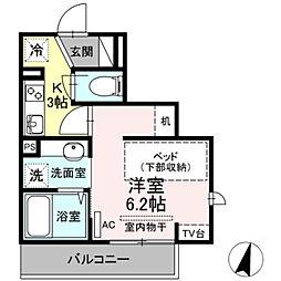 小田急小田原線 生田駅 徒歩4分の賃貸アパート 2階1Kの間取り