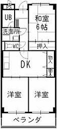 滋賀県東近江市垣見町の賃貸マンションの間取り