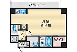 スペーシア江坂南金田 2階1Kの間取り