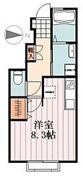 JR五日市線 秋川駅 徒歩9分の賃貸アパート 1階ワンルームの間取り