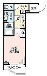 プレール・ドゥーク三宿 1階1Kの間取り