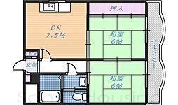 サンモール木下Ⅱ[3階]の間取り