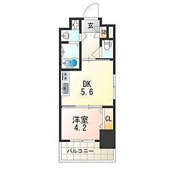 レオンヴァリエ大阪ベイシティ 3階1DKの間取り