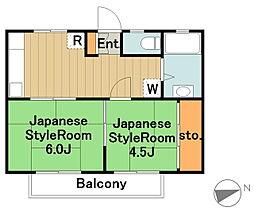 神奈川県相模原市中央区横山1丁目の賃貸アパートの間取り