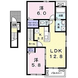 静岡県静岡市駿河区下島の賃貸アパートの間取り