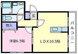 大阪府松原市天美南3丁目の賃貸アパートの間取り