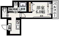 (仮称)大京町メゾン 2階1Kの間取り