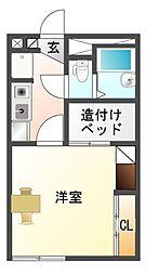 愛知県豊川市御津町御馬塩浜の賃貸アパートの間取り