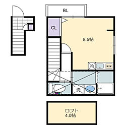 南海高野線 初芝駅 徒歩8分の賃貸アパート 2階ワンルームの間取り