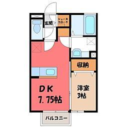 リンクス 2階1DKの間取り
