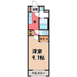 東武宇都宮線 東武宇都宮駅 徒歩15分の賃貸マンション 3階1Kの間取り