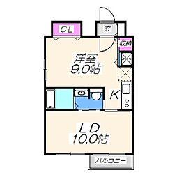ブランカ堺東 9階1LDKの間取り