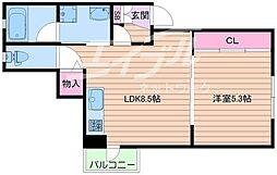 Lucia Villa Ciel 1階1LDKの間取り