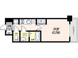 Osaka Metro谷町線 四天王寺前夕陽ヶ丘駅 徒歩9分の賃貸マンション 2階1Kの間取り