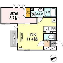 仮)D-room 下作延 2階1LDKの間取り