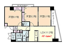 淀川ウエストタワー 4階3LDKの間取り