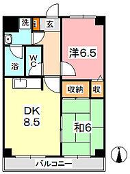 マンション曽根本 4階2DKの間取り