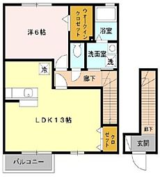 東京都東大和市芋窪5丁目の賃貸アパートの間取り