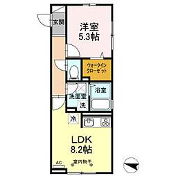 都営新宿線 篠崎駅 徒歩24分の賃貸アパート 1階1LDKの間取り