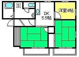 エスポワールD棟[102号室]の間取り