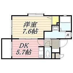 E&K筥松[203号室]の間取り