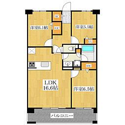 ロイヤルパークス新田[720号室]の間取り