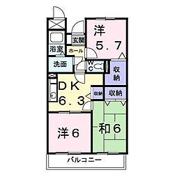 神奈川県厚木市温水西2の賃貸マンションの間取り